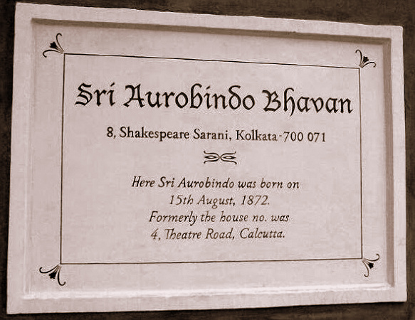 Commemorative Plaque at Sri Aurobindo's birthplace
